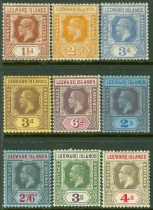 EDW1949SELL : LEEWARD ISLANDS 1921-32 Scott #61//80. 9 Diff values. MOG Cat $113