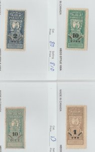 Paraguay revenue fiscal stamp 4-22-62 Better item