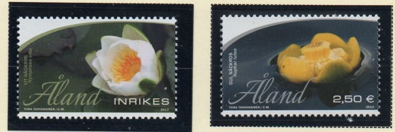 Aland Finland Sc 343-44 2013 Water Lilies stamp set mint NH
