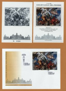 Czeslaw Slania`s 1000th stamp Sweden 2000  S/S Scott #2374 + Black print