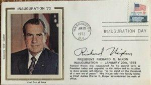 Colorano Silk Inauguration Day 1973 Richard M. Nixon Short Bio on Front