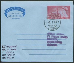 PORTUGAL 1968 GB Aerogramme PAQUETE / LISBOA cds SS Uganda cachet..........47965