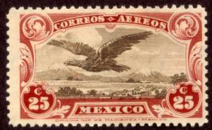 MEXICO C3, 25¢ Early Air Mail single. Mint, NH. F-VF.