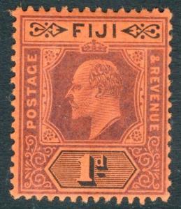 FIJI-1903 1d Dull Purple & Black-Red Watermark Crown CA Sg 105 LIGHTLY MOUNTED/M