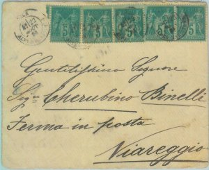 88872 - FRANCE - Postal History -  Yvert # 75 *5 on  COVER to ITALY   1884