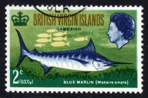 British Virgin Islands 1968 QE2 2ct Blue Marlin used SG 220 ( B1342 )