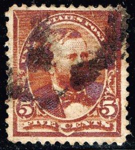 US STAMP #223 – 1890 5c U S Grant, chocolate USED STAMP
