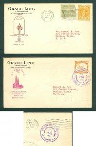 Guatemala/El Salvador. 1933. Cachet  2 Ship Cover Grace Line. Adr: Texas USA.