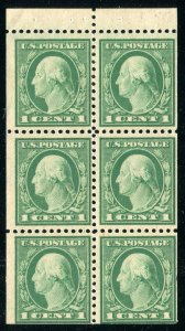 (1917-19) #498e 1¢ Washington unused NH booklet pane