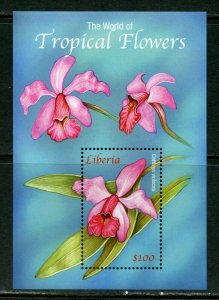 LIBERIA TROPICAL FLOWERS OF THE WORLD SOUVEIR SHEET MINT NH