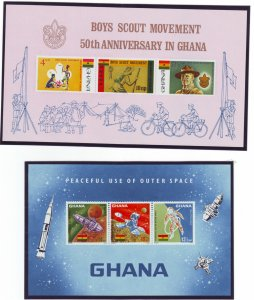 Z565 Jlstamps 2 1967 ghana s/s mnh #307a & 310a space and scouts