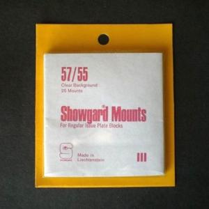 Showgard Stamp Mounts Size 57 / 55 CLEAR Background Pack of 25