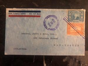 1940 Tegucigalpa Honduras Airmail Cover To Jaffe & Sons Manchester England