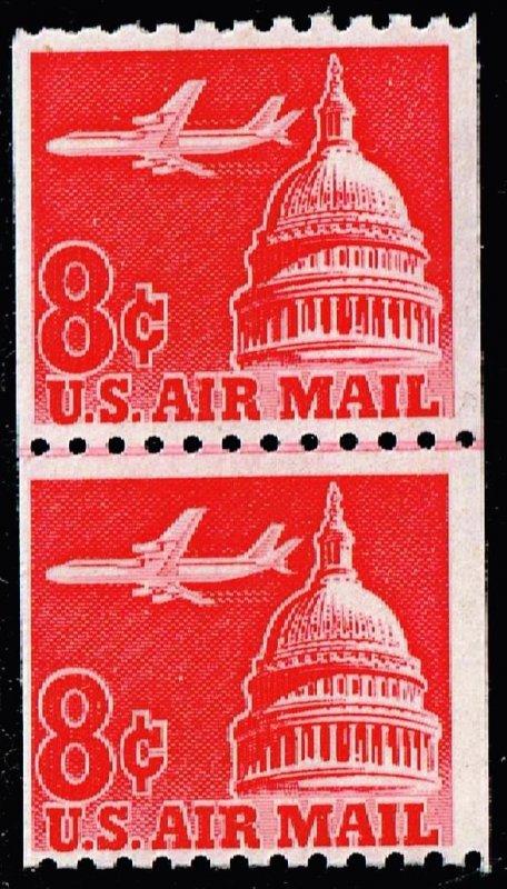 US STAMP #C65 – 1962 8c Plane & Capitol MNH PAIR