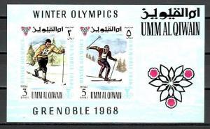 Umm Al Qiwain, Mi cat. 241-242, BL12. Grenoble Winter Olympics s/sheet.