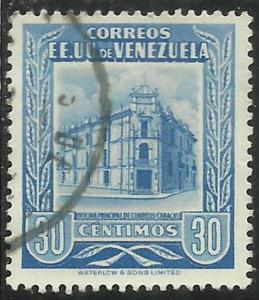 VENEZUELA 1953 POST OFFICE CARACAS UFFICIO POSTALE CENT. 30c USED USATO OBLIT...