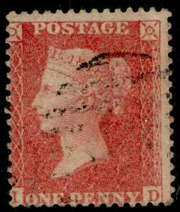 SG38, 1d pale red PLATE 61, LC14, FINE USED. Cat £35. ID