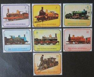 Equatorial Guinea 1978 locomotives railiways trains transport 7v VFU