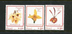 Peru 1314-1315, MNH, Flowers Orchids 2002. x29691