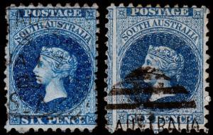 South Australia Scott 69, 69d (1876) Used  F, CV $30.00 M