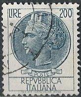 Italy 788 (used) 200 lire Italia, dp blue (wtmk 303, 17x21mm) (1959)