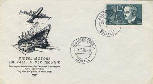 SARRE / SAARGEBIET - 1958 Mi.432 12fr Rudolf Diesel FDC - (LBS)