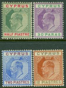 CYPRUS : 1902-04. Stanley Gibbons #50-51, 53, 57 VF Mint large part OG. Cat £141