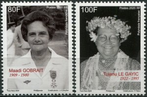 French Polynesia 2020. Famous Women (MNH OG) Set of 2 stamps