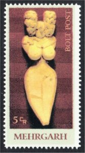 Mehrgarh Neolithic Goddess Statue Fantasy Stamp Artistamp by BoltPost Local Post