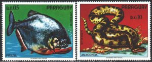 Paraguay. 1975. 2664-65 from the series. Anaconda snake, piranha fish. MNH.