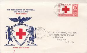 Rhodesia & Nyasaland 1963 Red Cross Issue on Typed Address First Day Cover