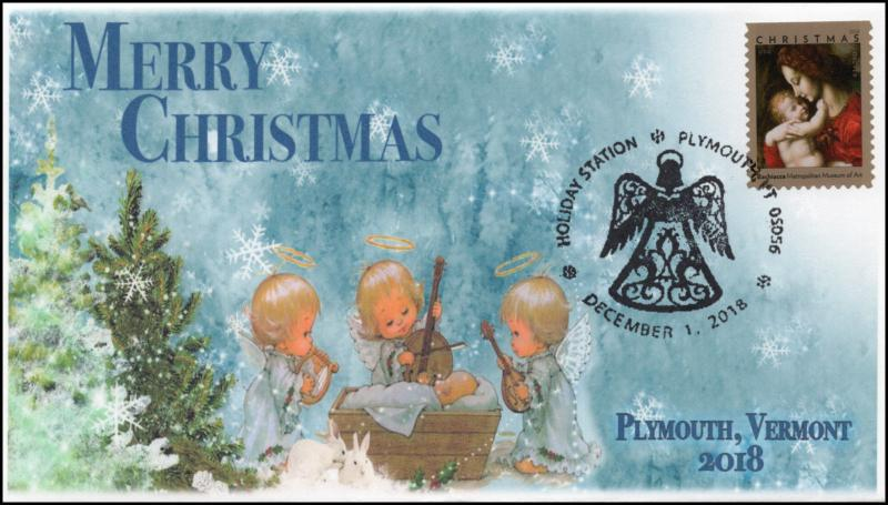 18-330, 2018, Christmas, Pictorial Postmark, Event Cover, Plymouth VT