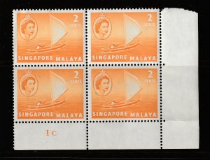 Singapore the 2c plate block MNH from the 1955 set