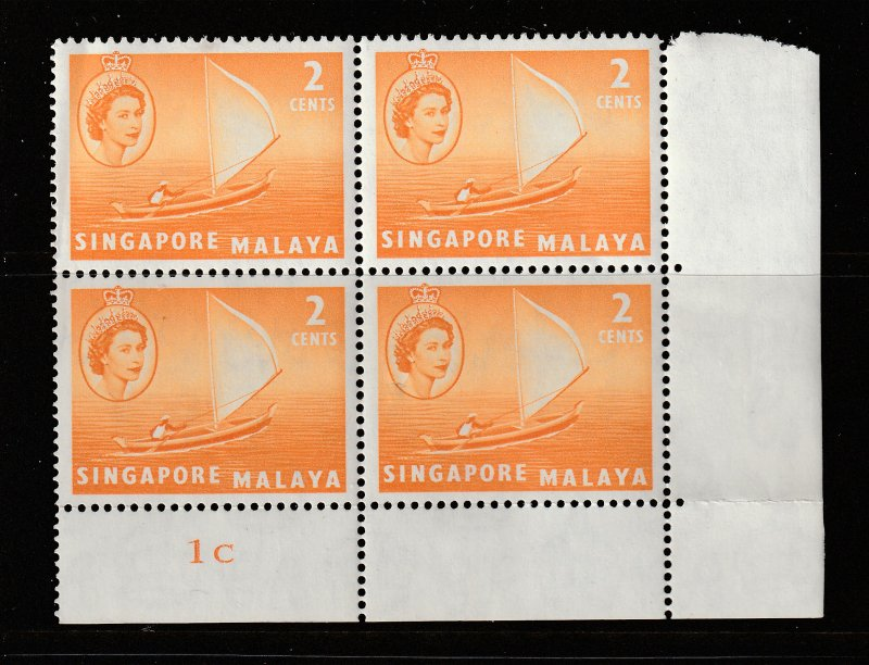 Singapore a MNH 2c Plate Block 1C from 1955