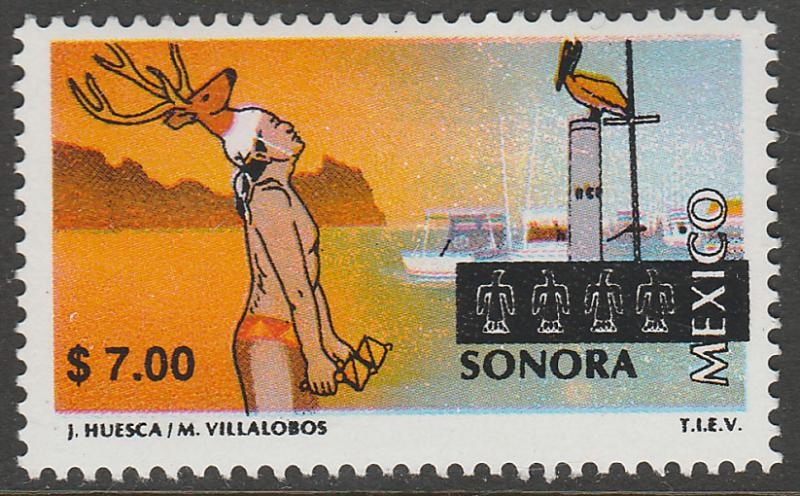 MEXICO 1979 $7.00 Tourism Sonora, deer dance, pelican. Mint, Never Hinged F-VF.