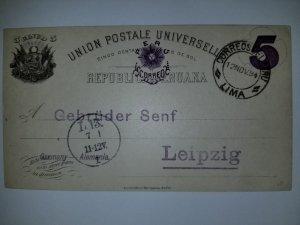 J) 1894 PERU, POSTCARD, POSTAL STATIONARY, NUMERAL 5 CENTS, CIRCULATED COVER, FR