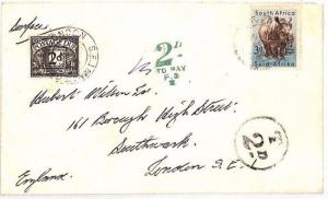AS56 1956 SOUTH AFRICA to GB London Cover. 2d Postage Due