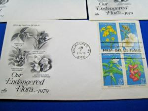 U.S. FIRST DAY COVER SETS - SET of 5 - 1979 OUR ENDANGERED FLORA       (FDC-13x)