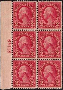 634 Mint,OG,HR... Block of 6 w/Plate#... SCV $1.80
