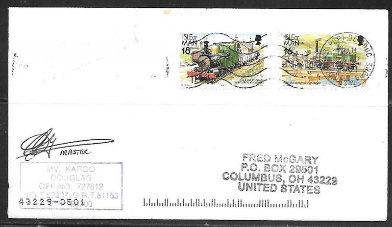 2001 Paquebot Cover, Isle of Man stamps mailed in Port de Bouc France