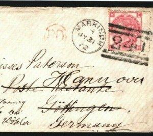 GB SCOTLAND SG.103 Plate 7 Cover Markinch Germany POSTE RESTANTE 1872 G68b
