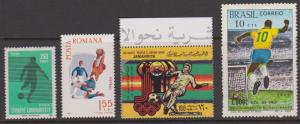 Soccer Stamps x 4 Mint Turkey, Romania, Brazil, Etc.