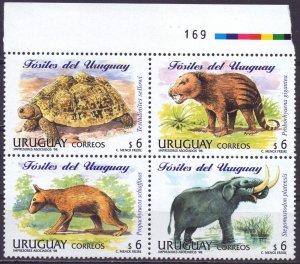Uruguay. 1998. 2339-42. Dinosaurs. MVLH.