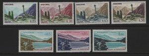 ANDORRA, 147-153, (7)SET, HINGED, 1961, GOTHIC CROSS, ENGOLASTERS LAKE