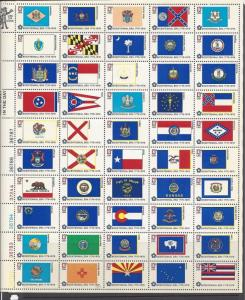 US Scott # 1632 - 1682 13c 1976 US Bicentennial State Flags Mint Sheet
