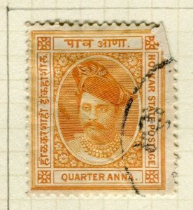 INDIA; INDORE 1889-92 early classic Holkar local issue used 1/4a. value