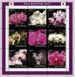 Guinea-Bissau - Orchids  Sheet of 9 Stamps - GB1320