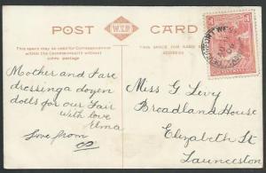 TASMANIA 1906 postcard 1d pictorial DEVONPORT WEST cds.....................59628