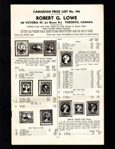 Canada – Vintage Dealer's Price List