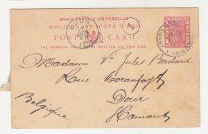 GOLD COAST, POSTAL CARD, 1903 QV 1d., SEKONDI cds. to Belgium.